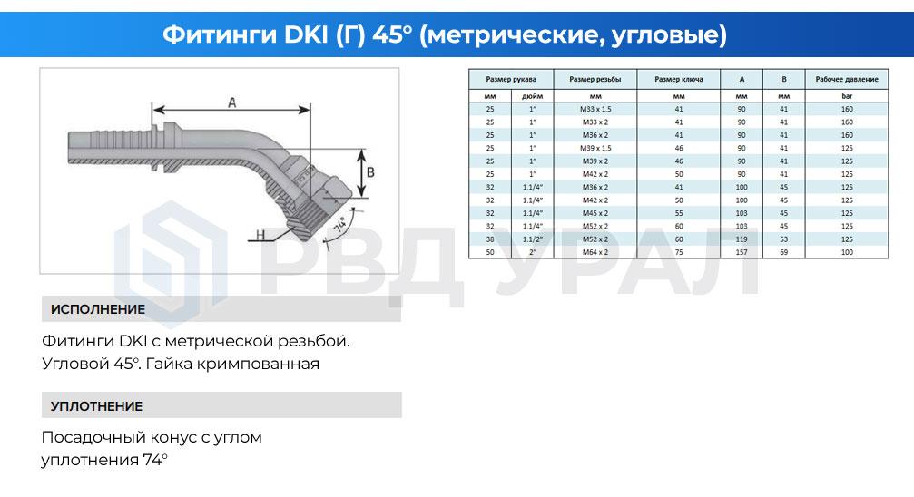 Характеристики метрических фитингов DKI в угловом исполнении 45° с кримпованной гайкой