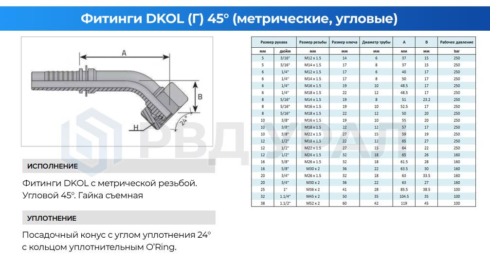 Характеристики метрических фитингов DKOL в угловом исполнении 45° со съемной гайкой
