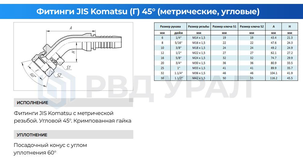 Характеристики метрических фитингов JIS Komatsu в угловом исполнении 45° с кримпованной гайкой