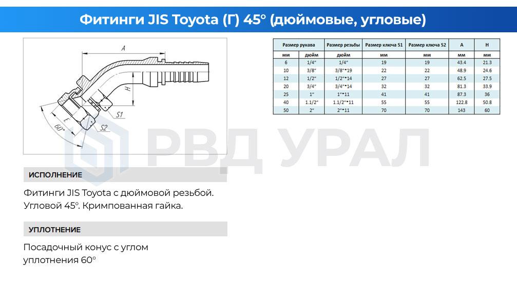 Характеристики метрических фитингов JIS Toyota в угловом исполнении 45° с кримпованной гайкой